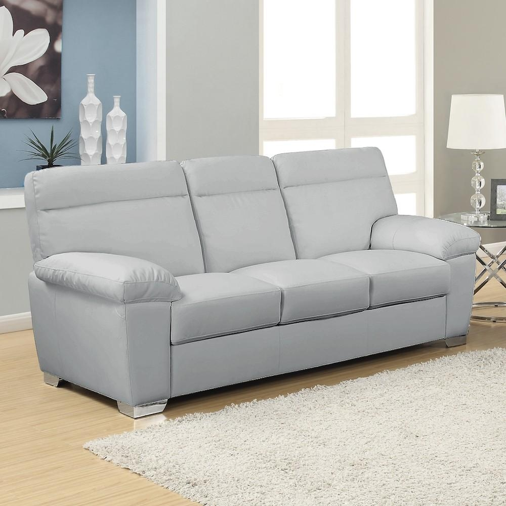 Alto Italian Inspired Light Gray Leather Sofa Highly Durable With Regard To Bonded Leather Sofas (Image 1 of 20)