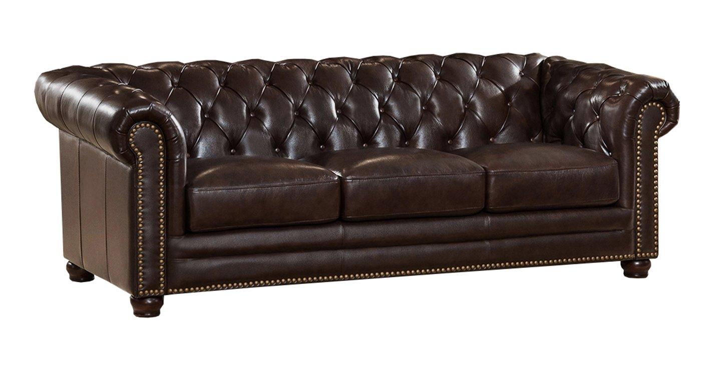 Amax Kensington Top Grain Leather Chesterfield Sofa And Chair With Red Leather Chesterfield Chairs (Image 5 of 20)