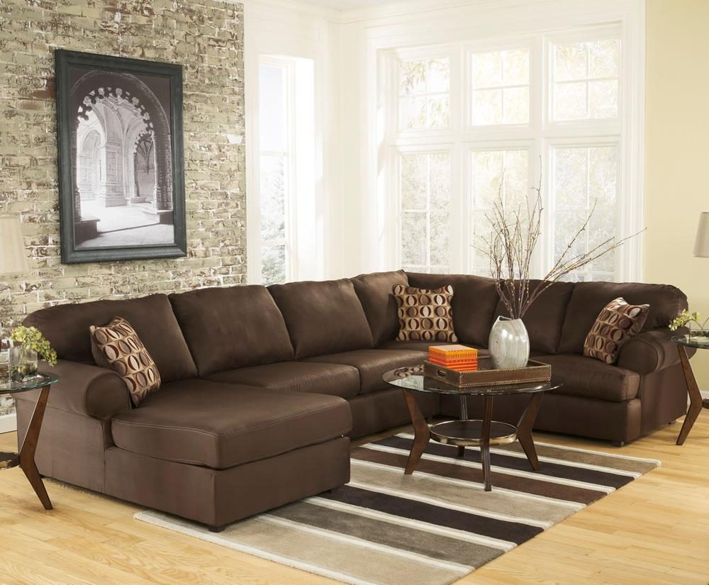 Amazing Brown Microfiber U Shaped Sectional Sofa Design Intended For Microfiber Sectional Sofas (Image 1 of 20)