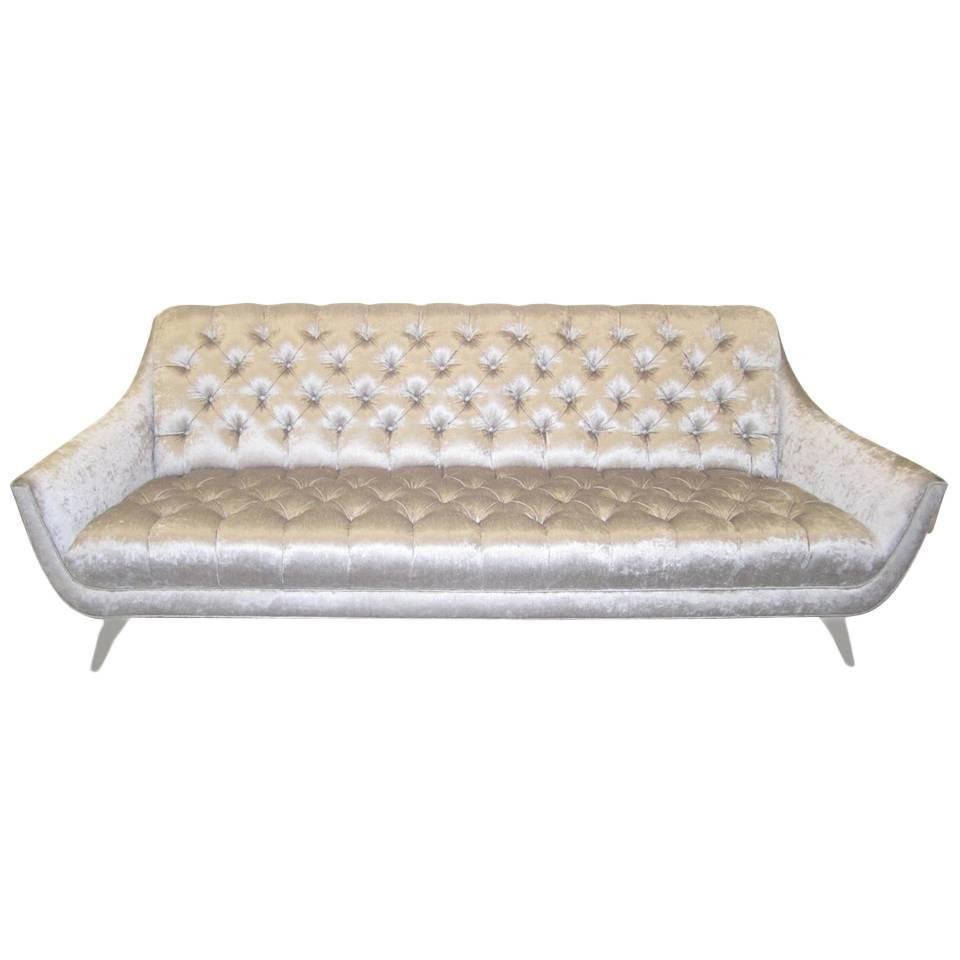 Amazing Regency Modern Silver Grey Velvet Tufted Sofa Mid Century Inside Silver Tufted Sofas (Image 1 of 20)