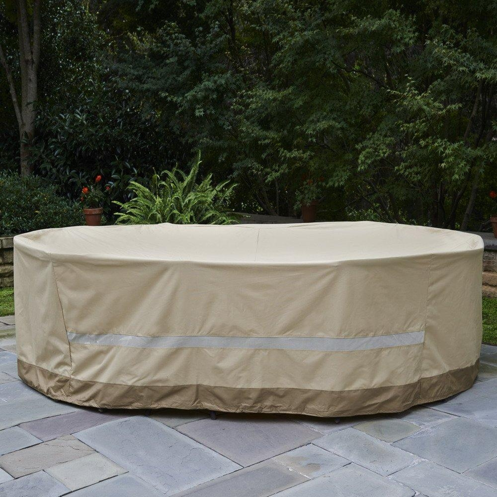 Amazoncom Patio Set Square Cover 116X116 Fits Patio Round Black In Garden Sofa Covers (Image 1 of 22)