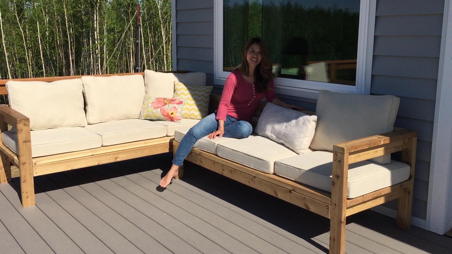 Ana White | One Arm Outdoor Sectional Piece – Diy Projects Inside Diy Sectional Sofa Frame Plans (View 2 of 15)
