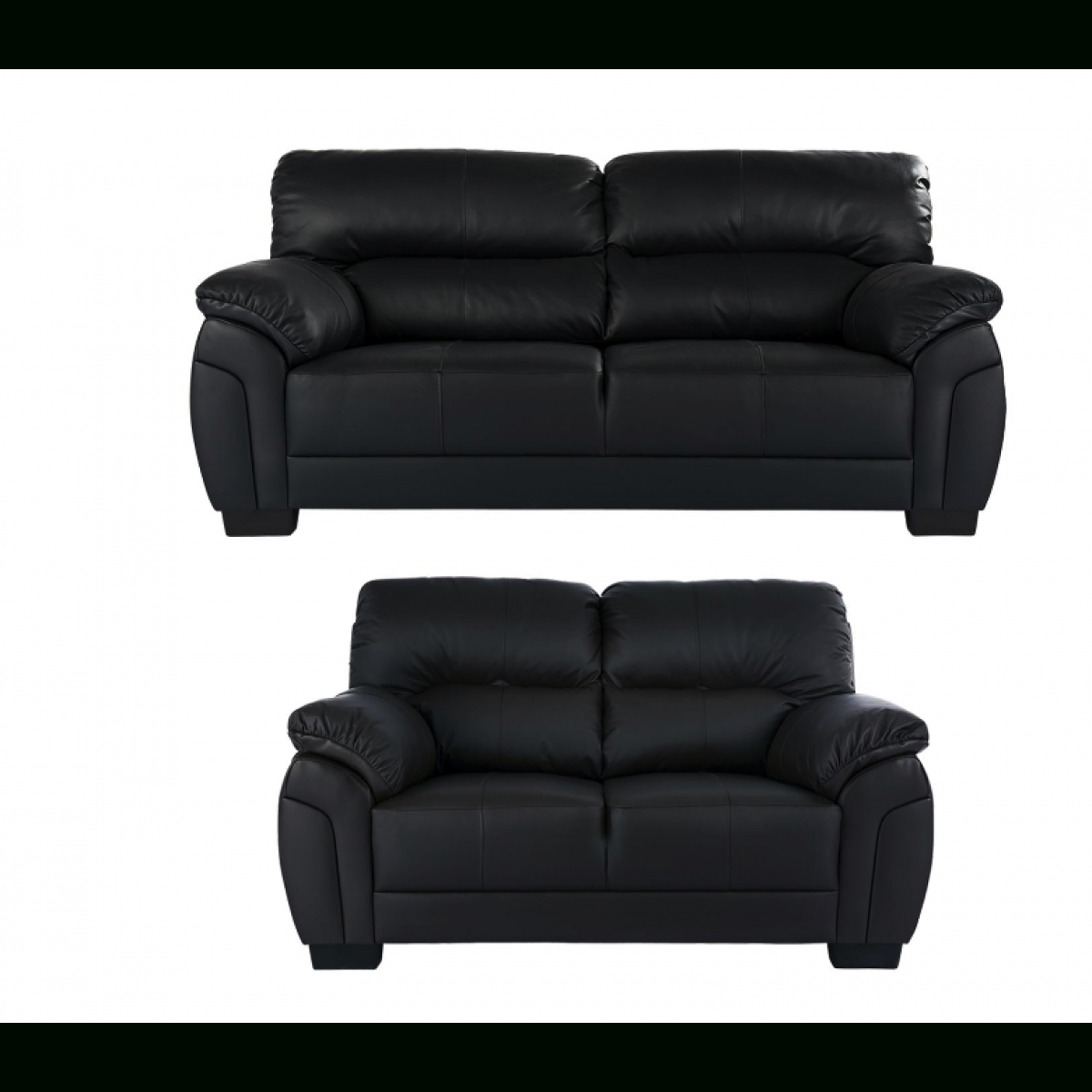 Ancona 3 Seater Plus 2 Seater Sofa Set Black – Furnico Village Regarding Black 2 Seater Sofas (View 10 of 20)