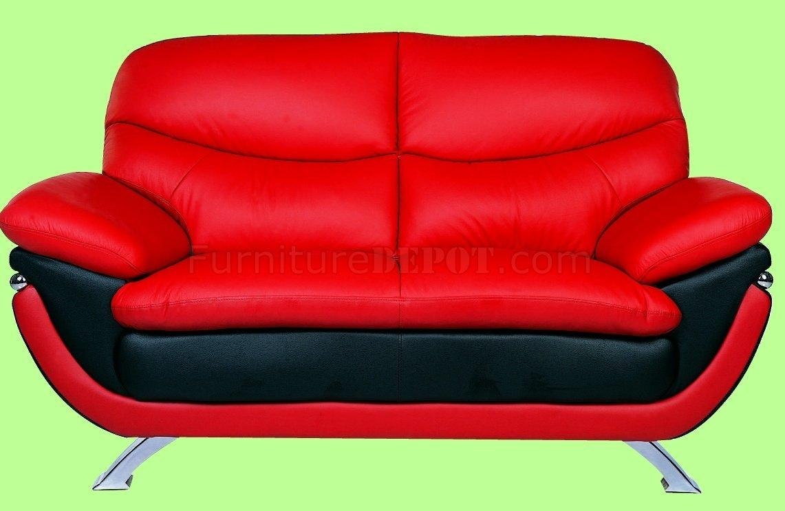 And Red Top Grain Leather Upholstery Sofa Inside Black And Red Sofa Sets (Image 3 of 20)