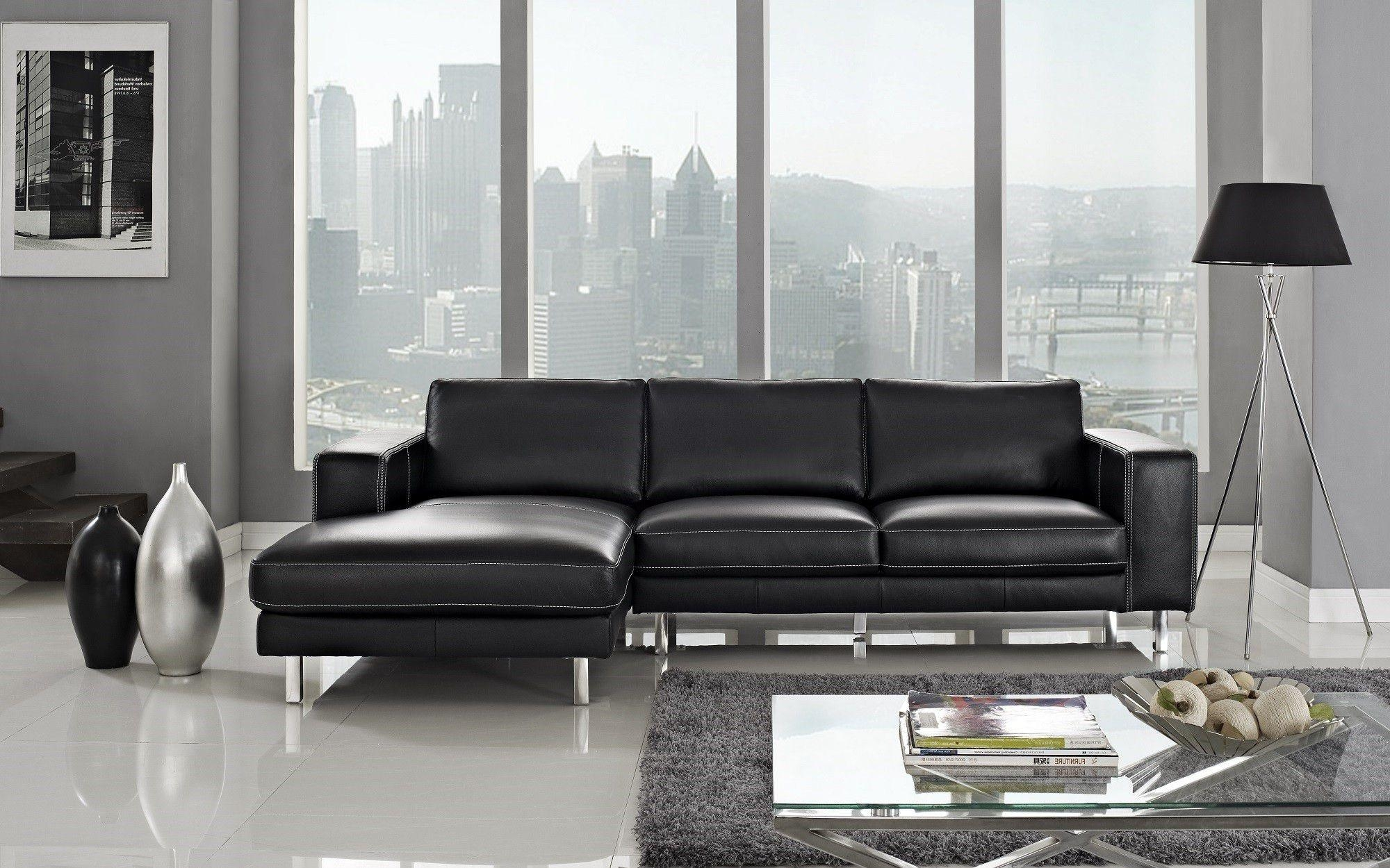 Anika Leather Sectional Left Facing Chaise In Black Leather Chaise Sofas (Image 1 of 20)
