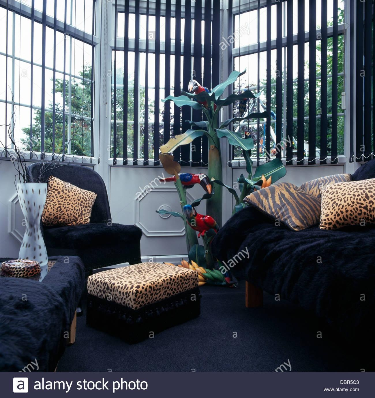 Animal Print Cushions On Black Armchairs And Sofa In Front Of Pertaining To Animal Print Sofas (Image 4 of 20)