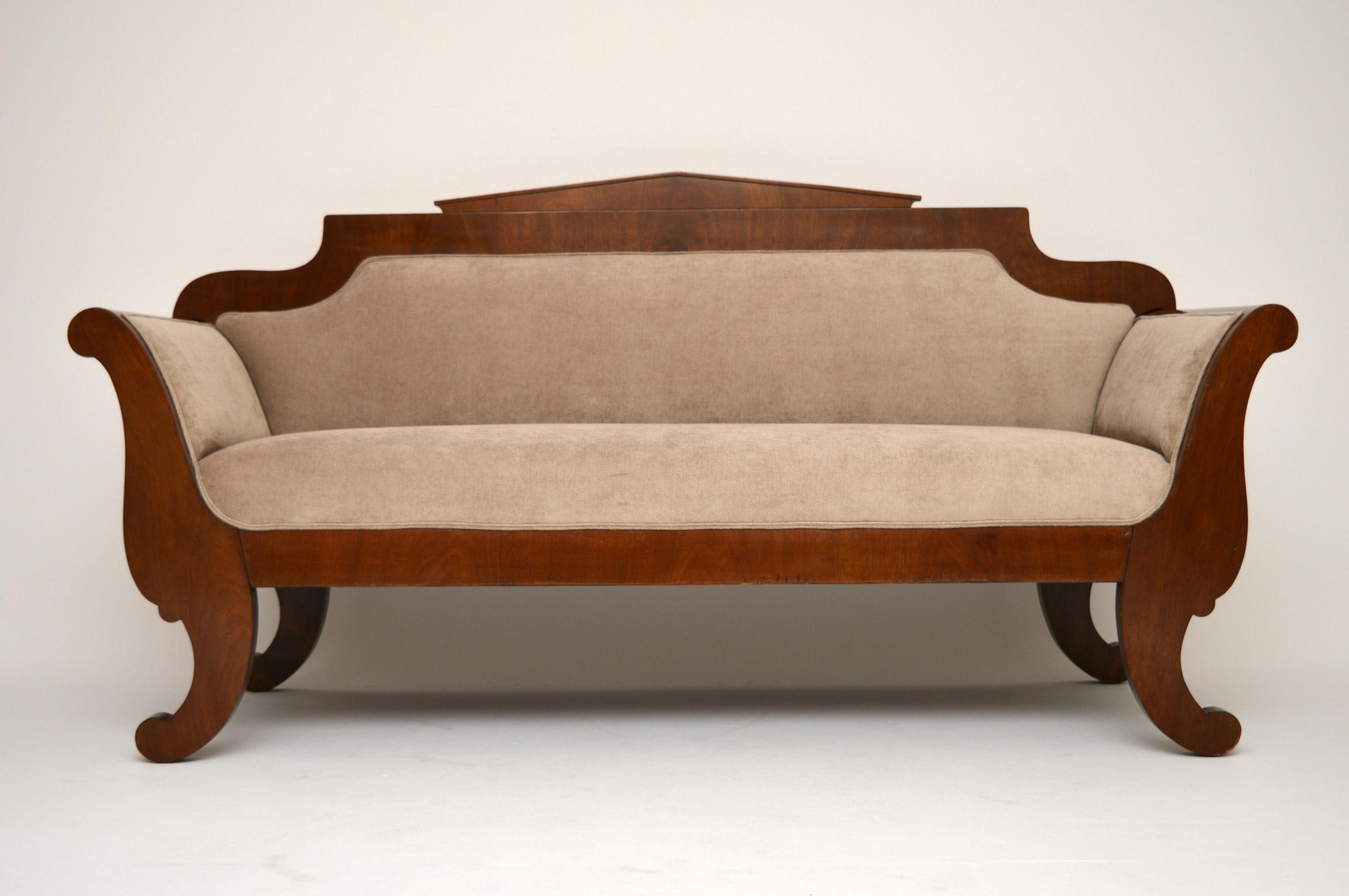 Antique Swedish Biedermeier Satinbirch Upholstered Sofa (1850 To Regarding Biedermeier Sofas (Image 7 of 20)