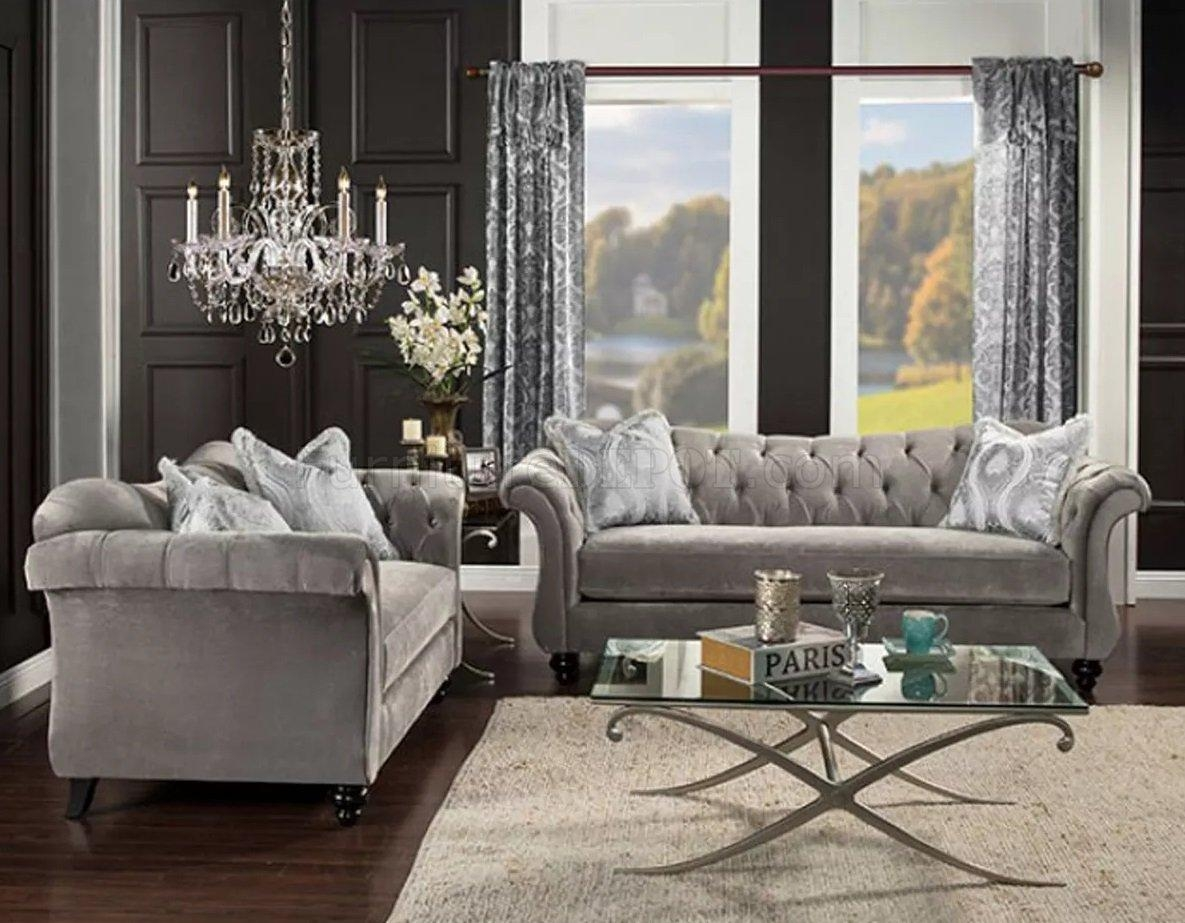 Antoinette Sofa Sm2221 In Ivory Fabric W/options Pertaining To Antoinette Sofas (View 14 of 20)