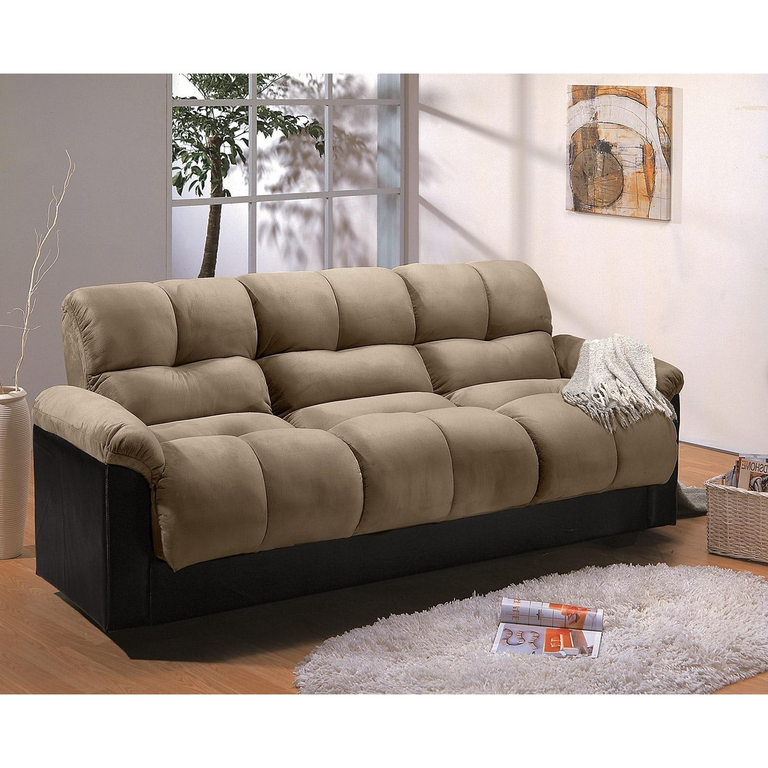 Ara Futon Sofa Bed With Storage – Hazelnut | Value City Furniture Throughout Leather Fouton Sofas (Image 1 of 20)