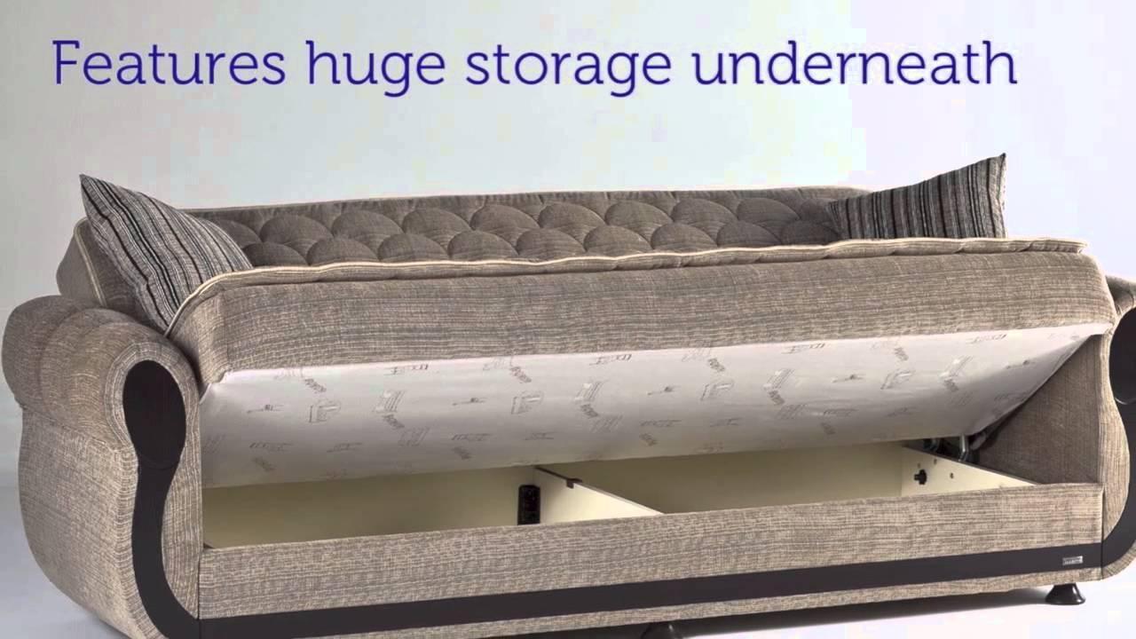 Argos Zilkade Three Seat Sofa Sleeper With Storage In Light Brown Regarding Sofa Beds With Storage Underneath (Image 1 of 20)