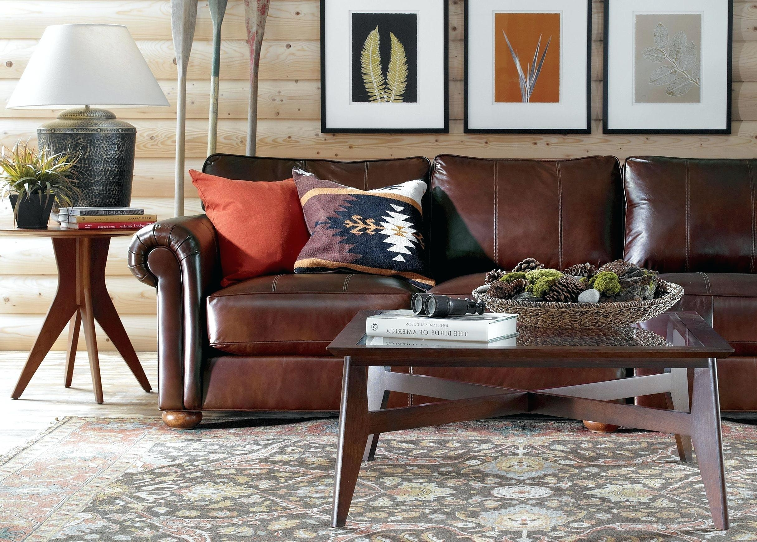 Arhaus Leather Sofa Ethan Allen Brown Loose Back Pillows And Seat Pertaining To Arhaus Leather Sofas (Image 9 of 20)