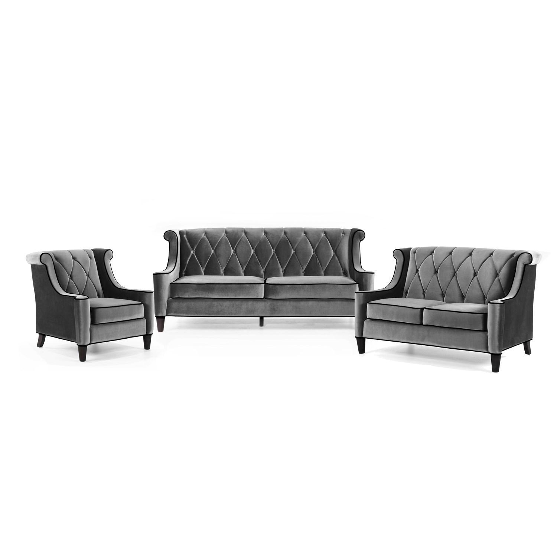 Armen Living Barrister Gray Velvet/black Wingback Sofa Set | The Pertaining To Barrister Velvet Sofas (View 10 of 20)