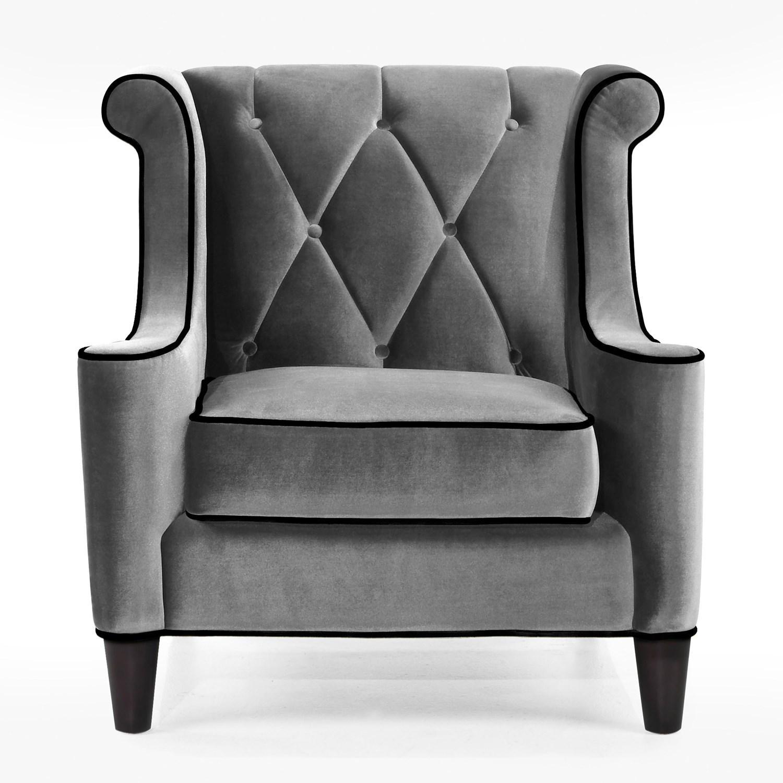 Armen Living Barrister Gray Velvet/black Wingback Sofa Set | The Within Barrister Velvet Sofas (Image 3 of 20)