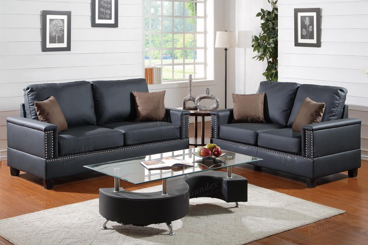 Arri Black Leather Sofa And Loveseat Set – Steal A Sofa Furniture Within Black Leather Sofas And Loveseat Sets (Image 1 of 20)