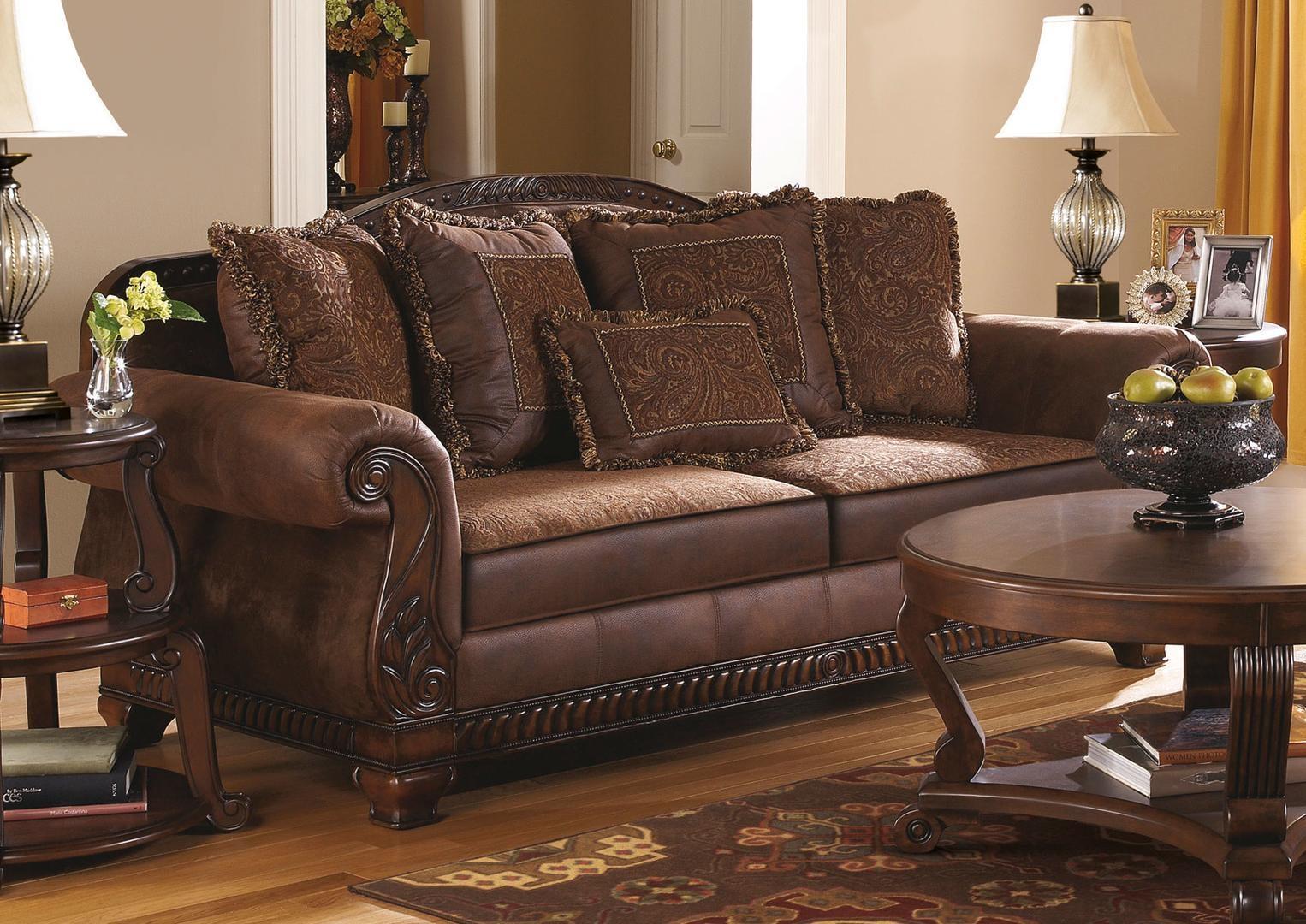 Ashley 1540038 Bradington Series Stationary Fabric Sofa Inside Bradington Truffle Sofas (Image 1 of 20)