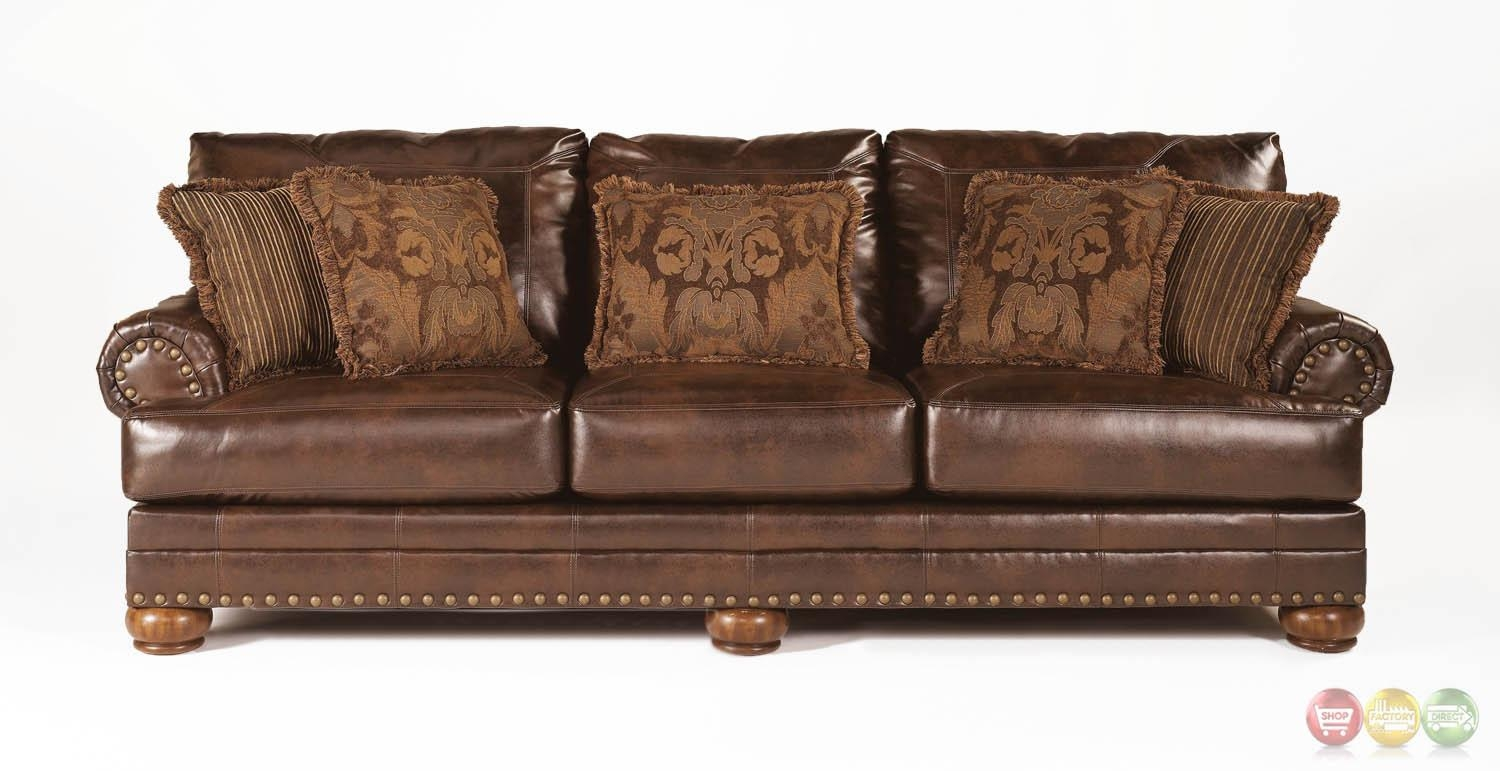 Ashley Antique Brown Bonded Leather Sofa Rolled Arms#10 Office Pertaining To Brown Leather Sofas With Nailhead Trim (Image 1 of 20)