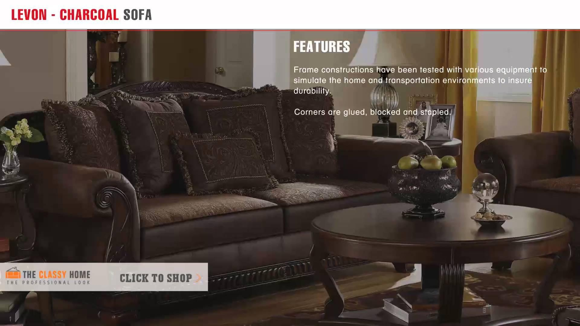 Ashley Furniture Bradington Traditional Truffle Fabric Sofa – Youtube Pertaining To Bradington Truffle (Image 4 of 20)
