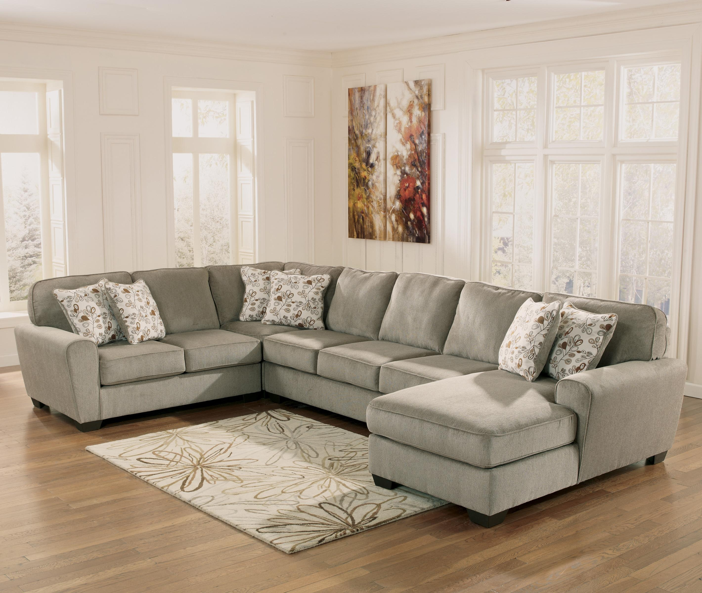 Ashley Furniture Patola Park – Patina 4 Piece Sectional With Right With Ashley Furniture Brown Corduroy Sectional Sofas (Image 1 of 20)
