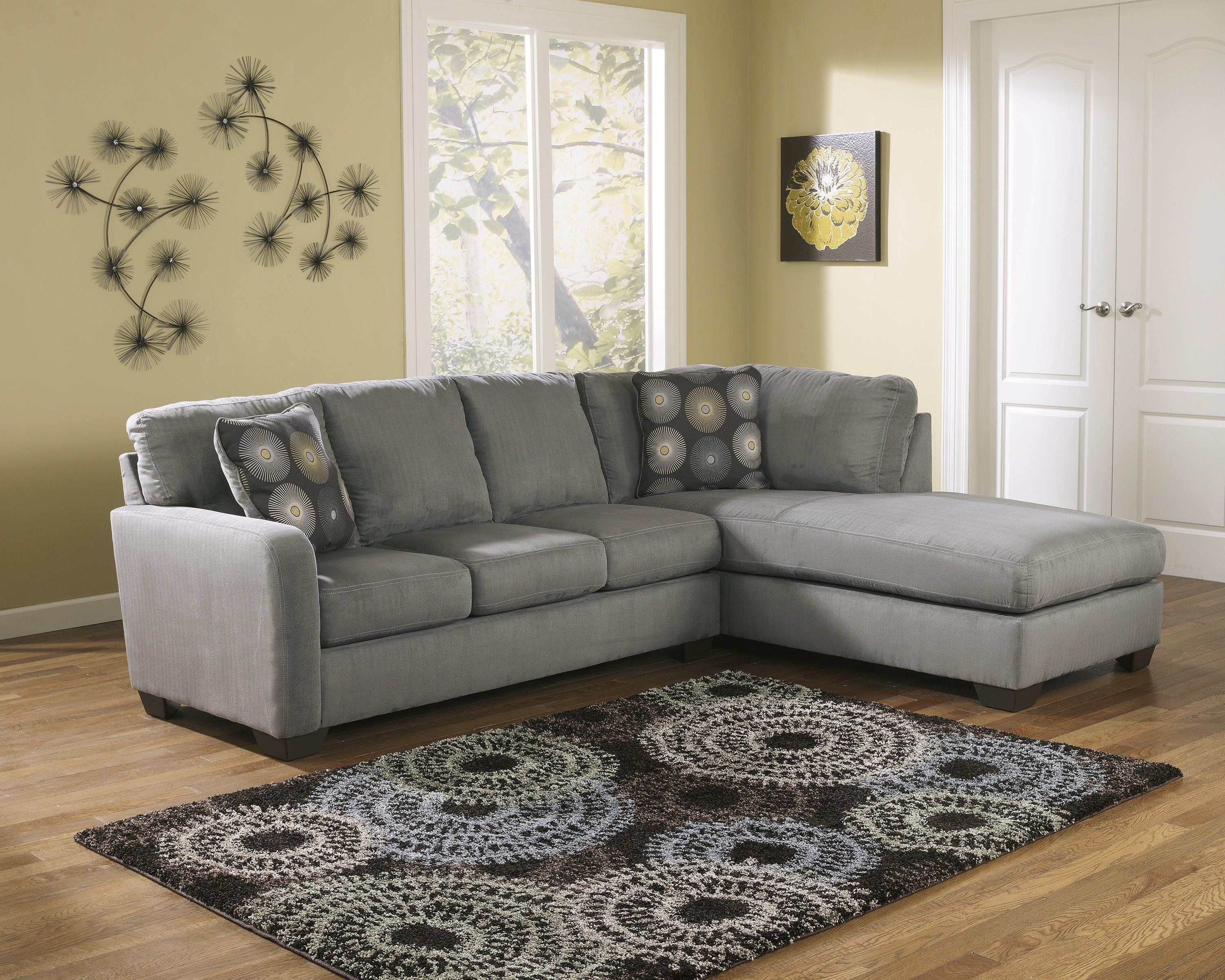 Ashley Zella Charcoal Gray Tone Fabric Sectional Sofa With Raf Chaise Within Charcoal Grey Sofas (Image 1 of 20)