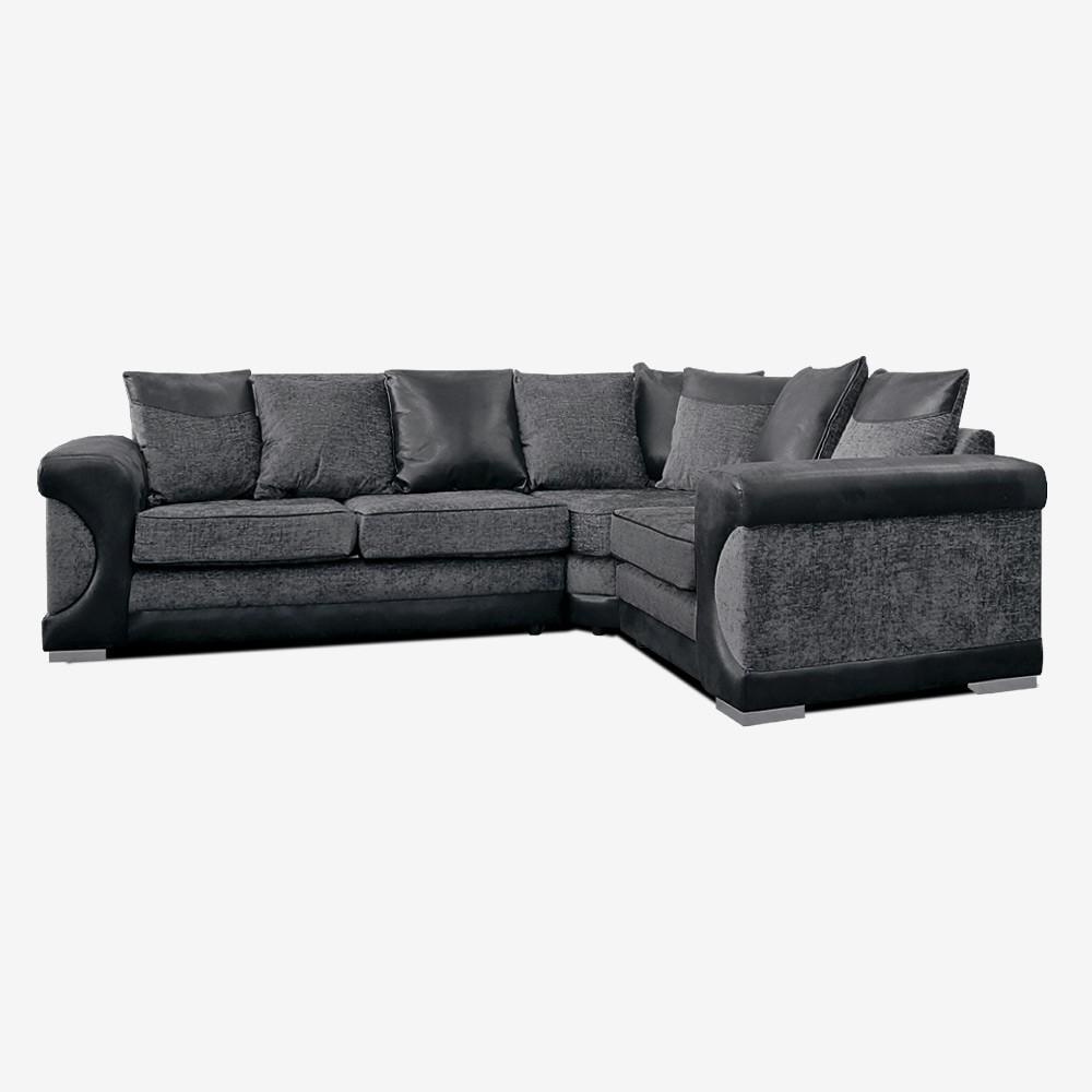 Ashton Corner Sofa In Charcoal Chenille Fabric L Shaped Sofa As Pertaining To Fabric Corner Sofa Bed (Image 1 of 20)