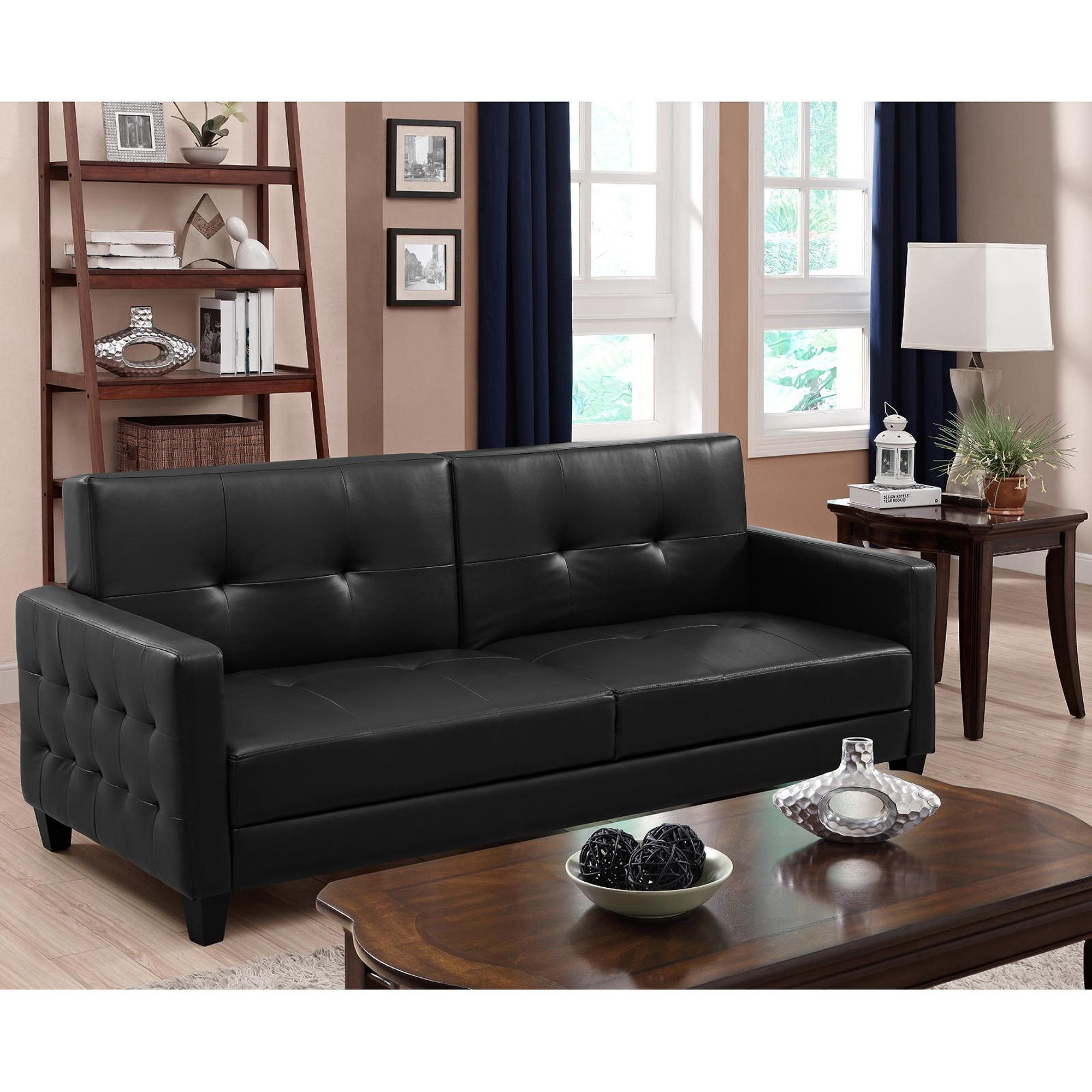 Atherton Home Manhattan Convertible Futon Sofa Bed And Lounger In Faux Leather Futon Sofas (Image 1 of 20)