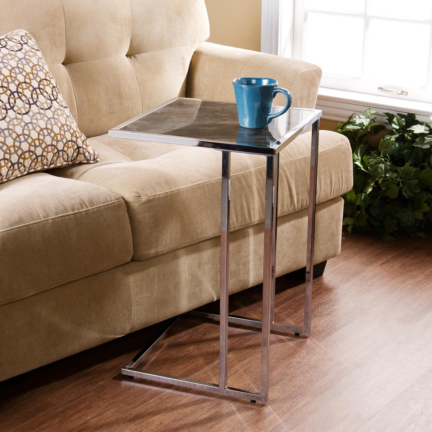 Attractive Snack Table With Slick Square Table Top Combined With Regard To Under Sofa Tray Tables (Image 1 of 20)
