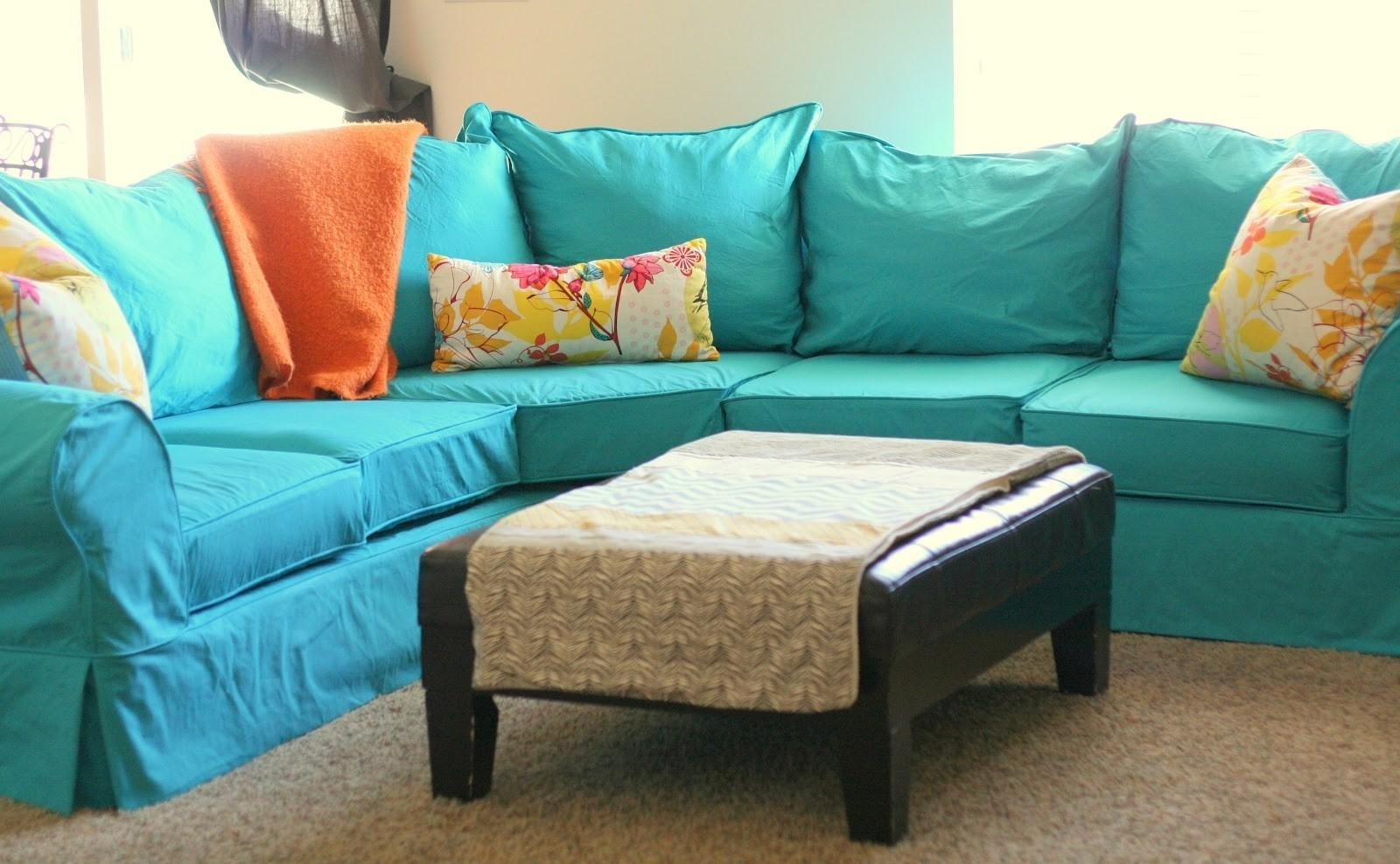 Attractive Turquoise Soa Slipcovers Ideas With Rather Loose Model With Regard To Turquoise Sofa Covers (Image 1 of 20)