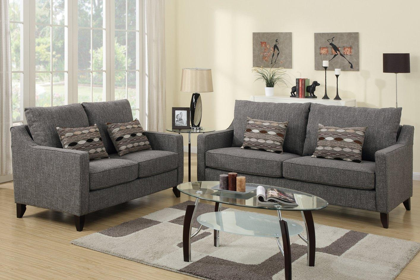 Avery Grey Fabric Sofa And Loveseat Set – Steal A Sofa Furniture Inside Sofa Loveseat And Chairs (Image 4 of 20)