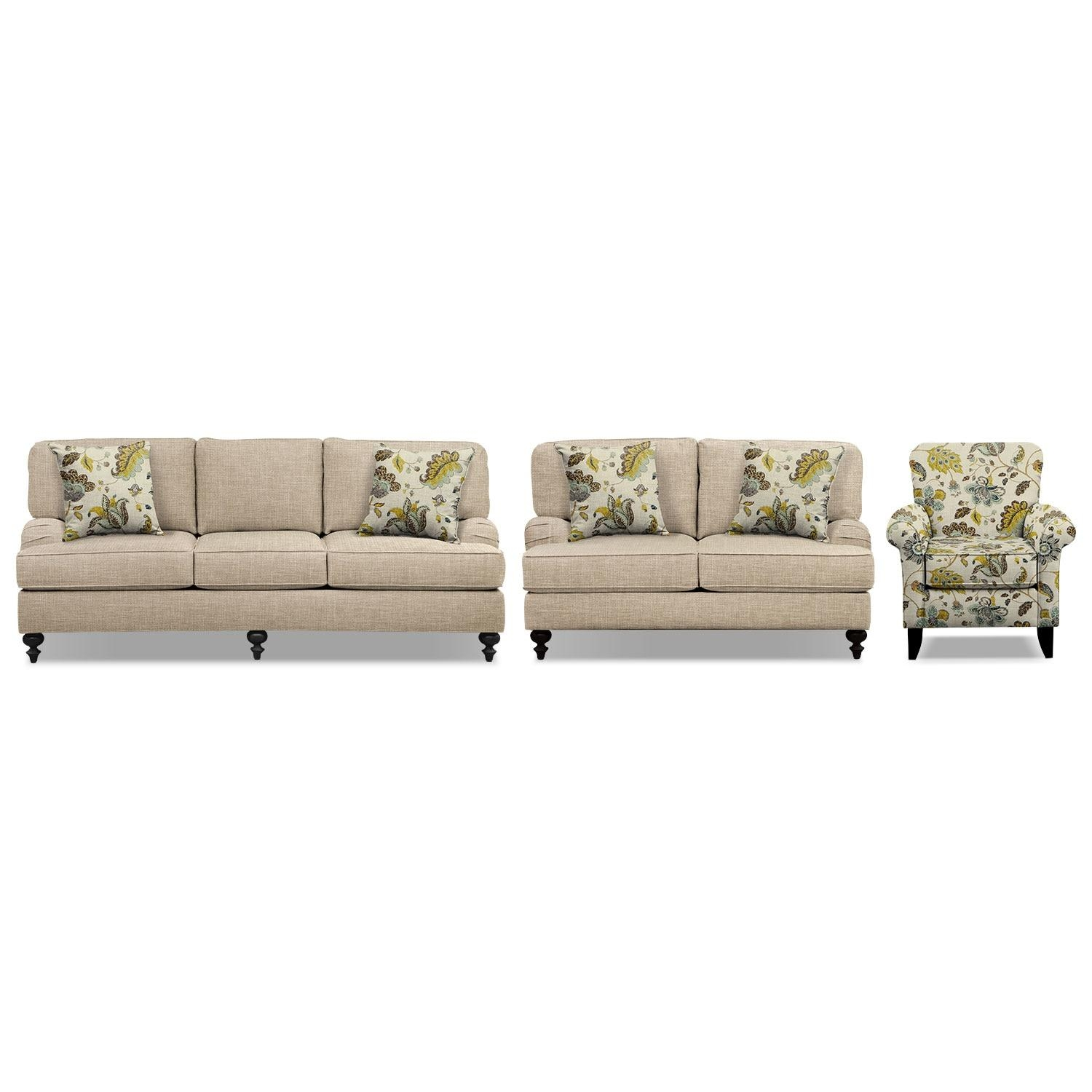 "Avery Taupe 86"" Memory Foam Sleeper Sofa, 62"" Sofa And Accent With Sofa And Accent Chair Set (View 15 of 20)"