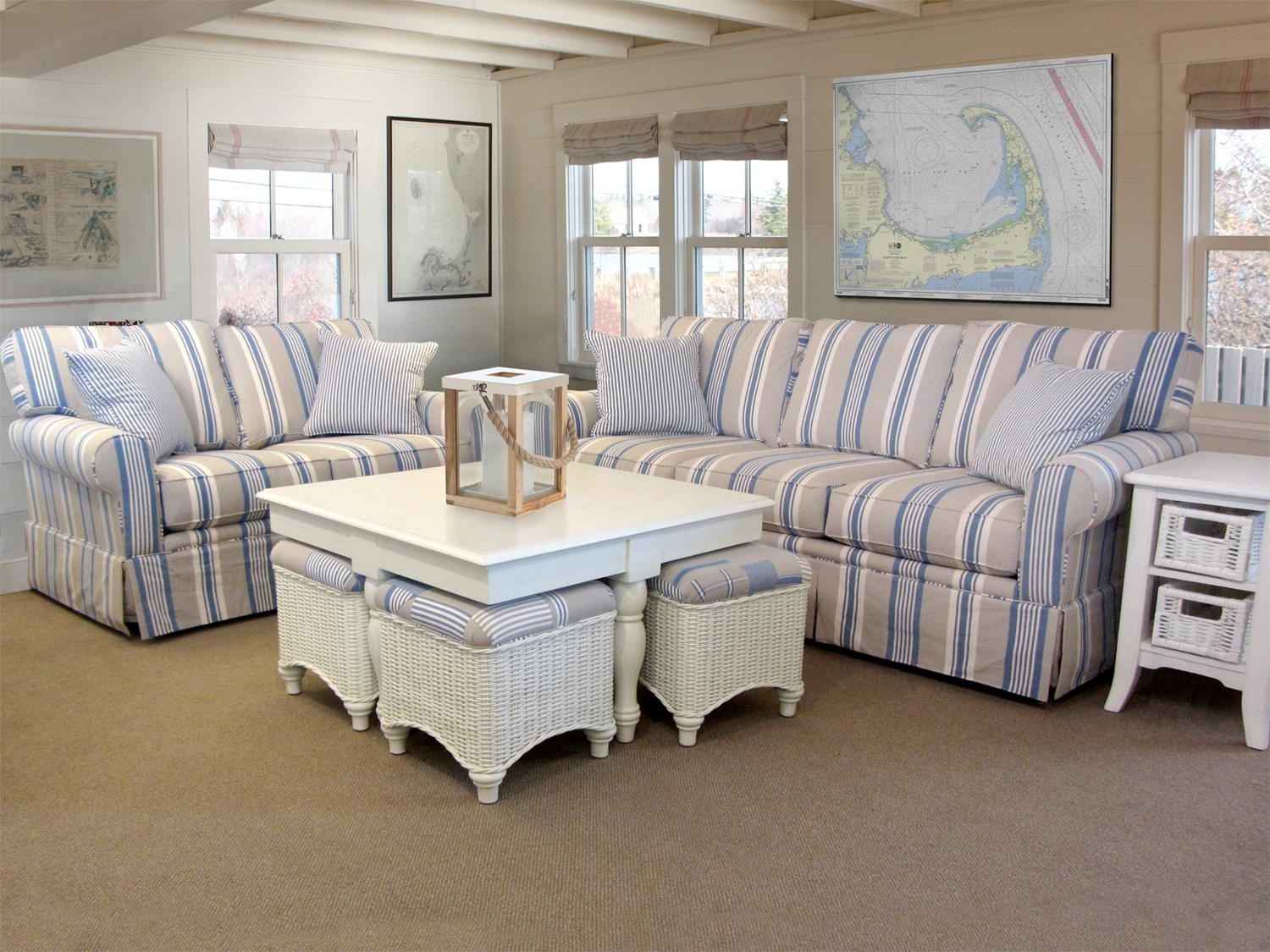 Awning Stripe Sofa | Barbos Furniture Within Blue And White Striped Sofas (View 2 of 20)