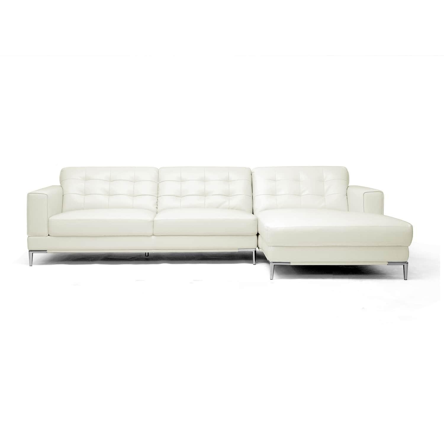 Babbitt Sleek Ivory Leather Modern Sectional Sofa – Free Shipping With Regard To Sleek Sectional Sofa (View 8 of 20)