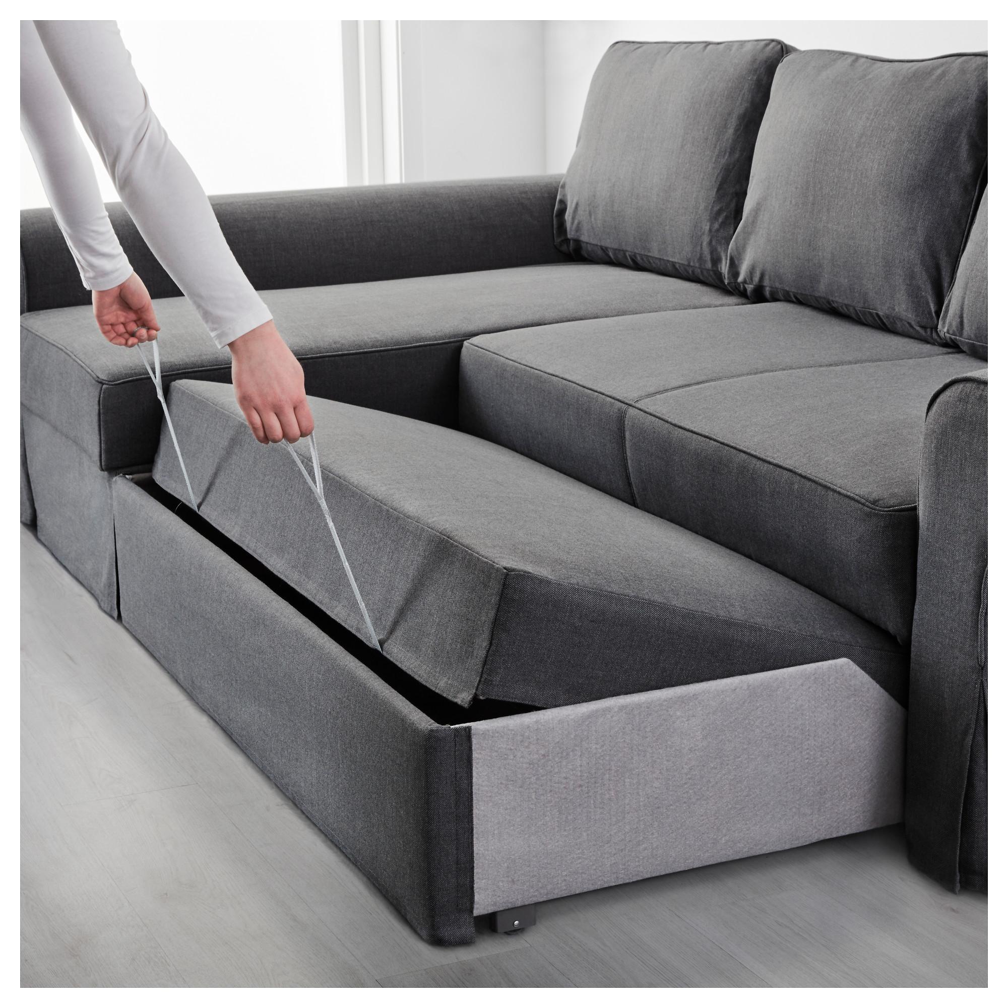 Backabro Sofa Bed With Chaise Longue Nordvalla Dark Grey – Ikea With Sofa Beds With Chaise Lounge (Image 2 of 20)