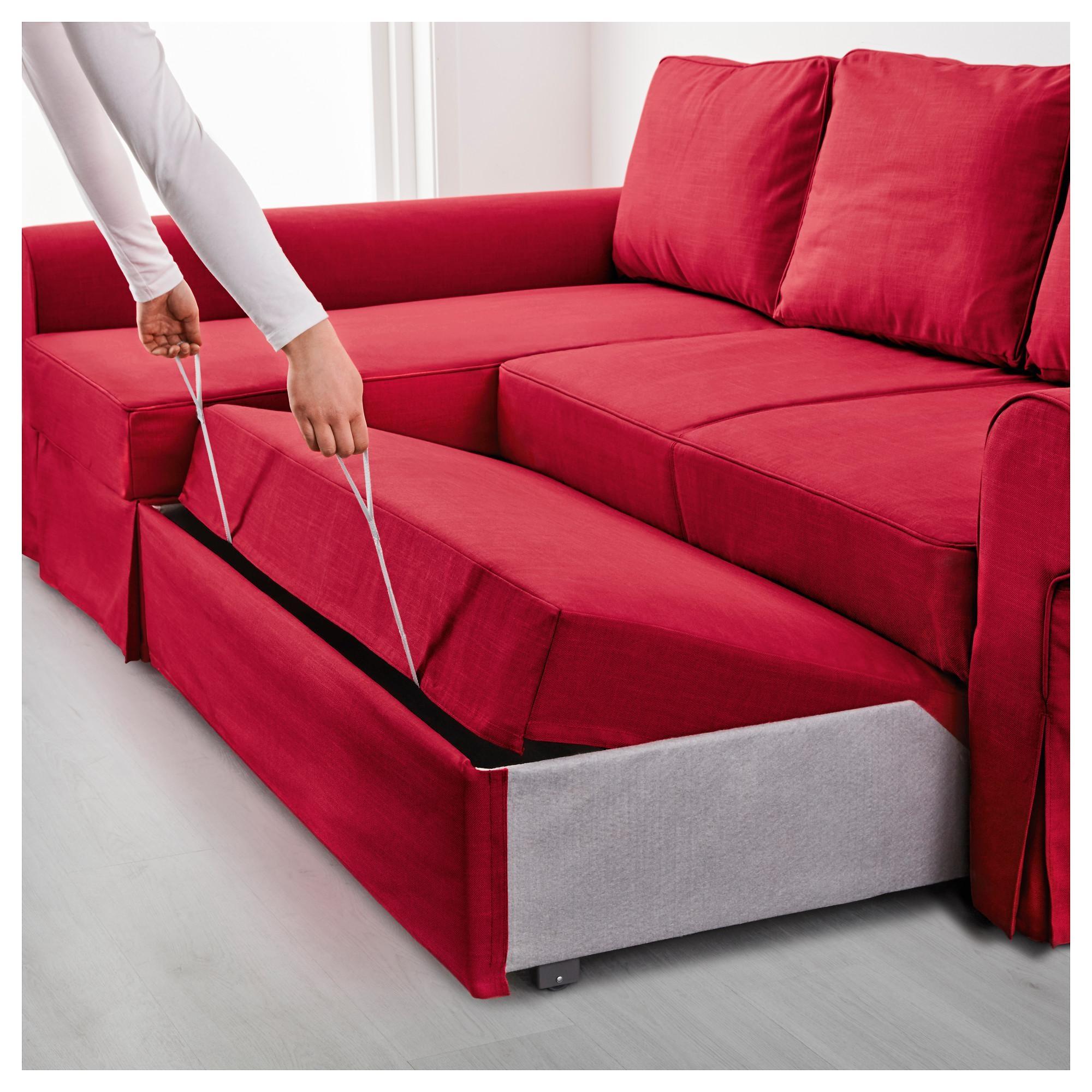 Backabro Sofa Bed With Chaise Longue Nordvalla Red – Ikea Pertaining To Chaise Longue Sofa Beds (View 7 of 20)