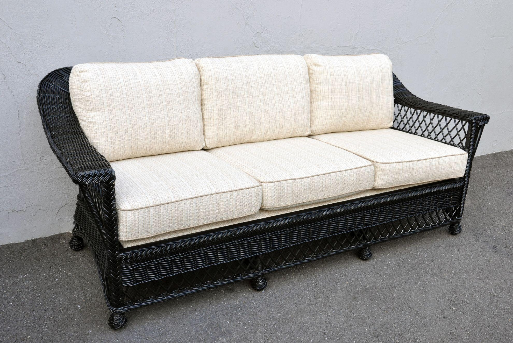 Bar Harbor Black Painted Rattan Sofa – Mecox Gardens With Black Wicker Sofas (View 19 of 20)