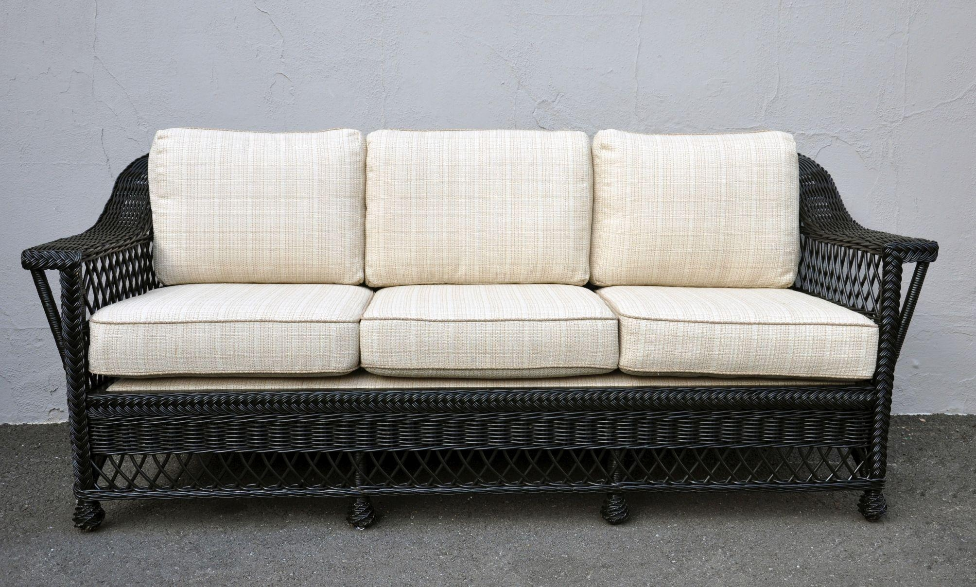 Bar Harbor Black Painted Rattan Sofa – Mecox Gardens Within Black Wicker Sofas (View 10 of 20)