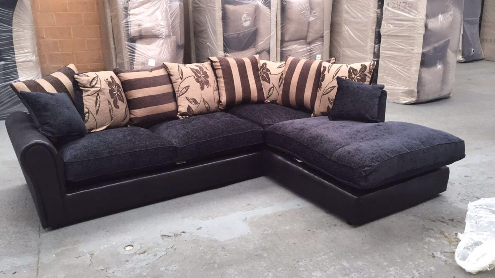 Barcelona Black Corner Sofa, Beds Direct Warehouse, Gainsborough Within Black Corner Sofas (Image 1 of 20)