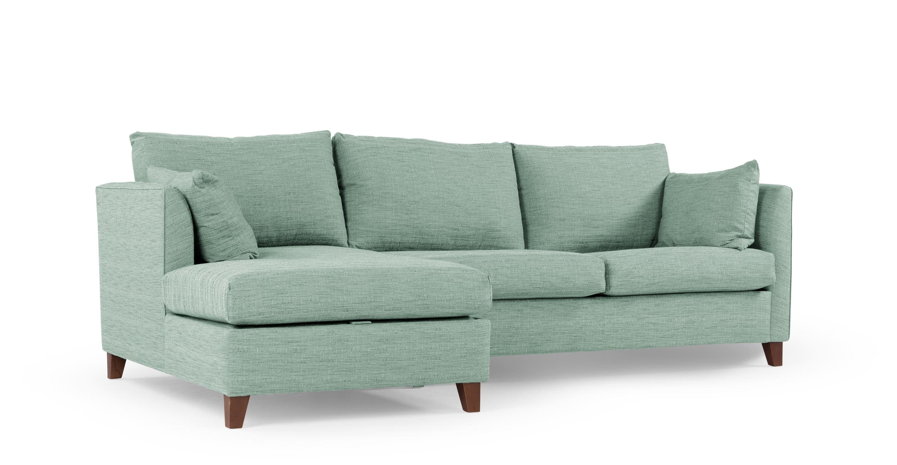 Bari Corner Storage Sofabed, Left Hand Facing, Malva Aqua | Made Within Aqua Sofa Beds (Image 2 of 20)