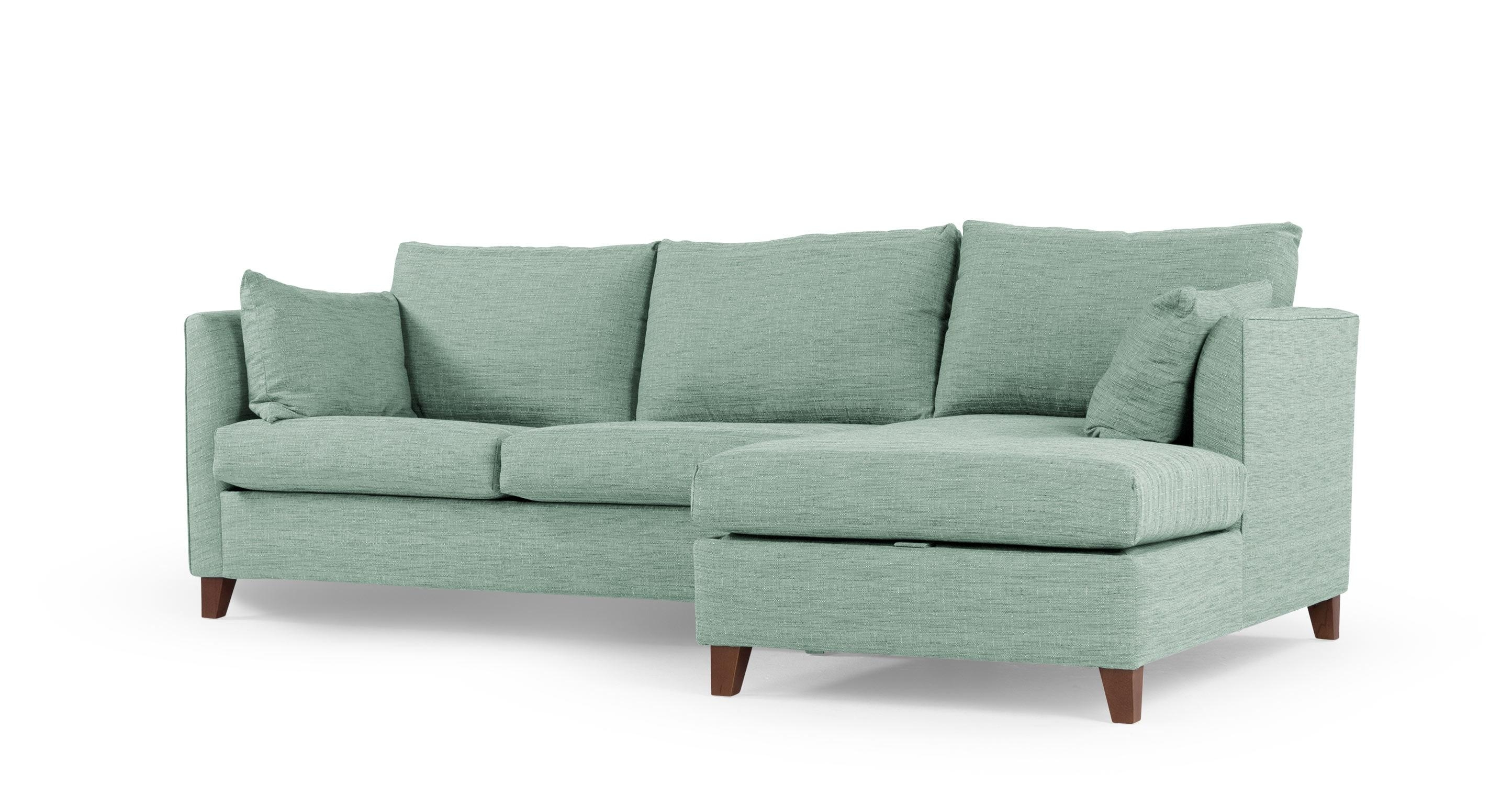 Bari Corner Storage Sofabed, Right Hand Facing, Malva Aqua | Made Intended For Aqua Sofa Beds (Image 3 of 20)
