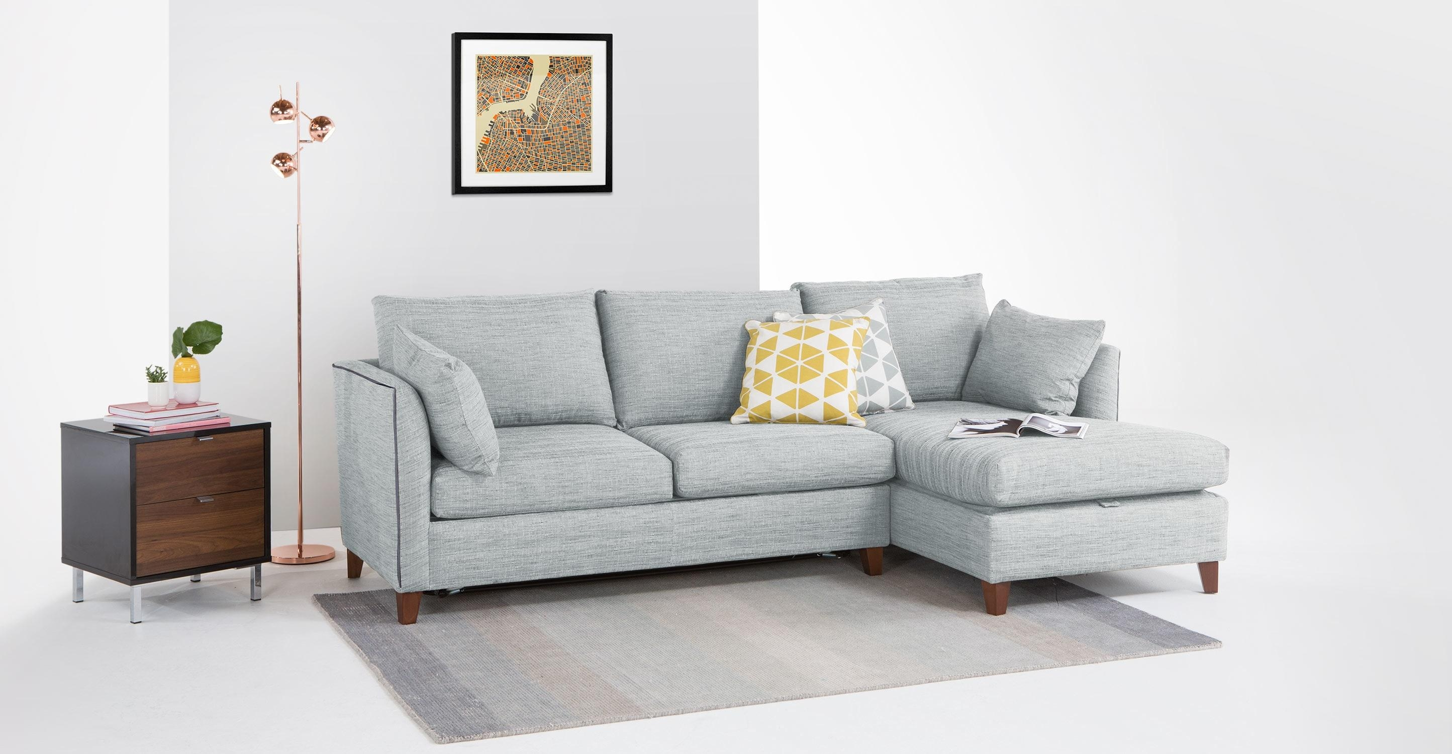 Bari Corner Storage Sofabed, Right Hand Facing, Malva Blue Grey Inside Blue Grey Sofas (Image 1 of 20)