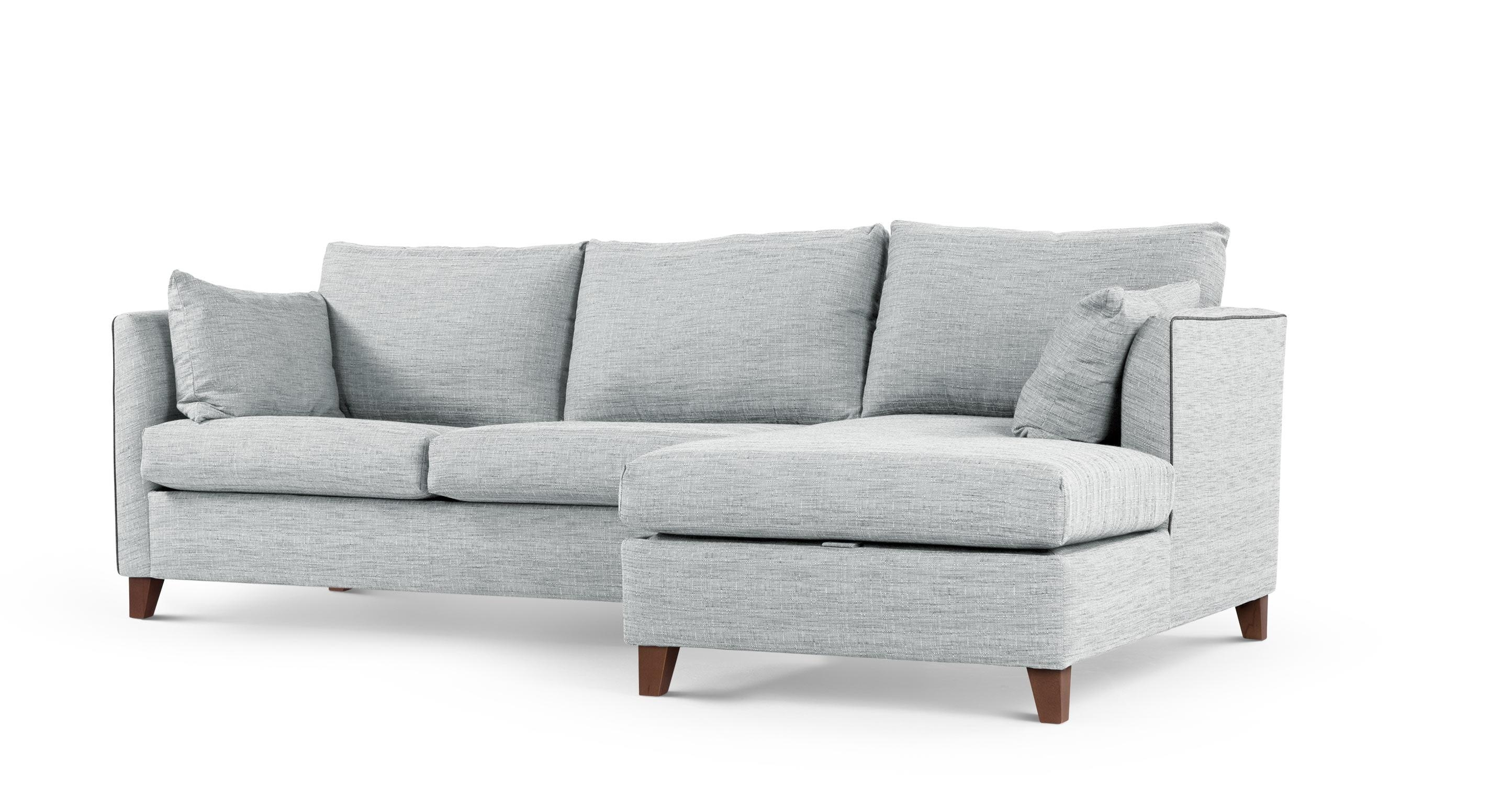 Bari Corner Storage Sofabed, Right Hand Facing, Malva Blue Grey With Regard To Blue Grey Sofas (Image 2 of 20)