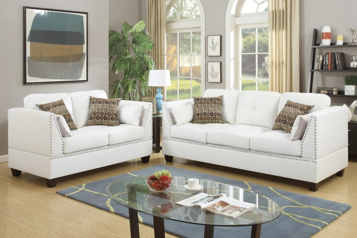 Barlo White Leather Sofa And Loveseat Set – Steal A Sofa Furniture Regarding White Leather Sofas (Image 1 of 20)