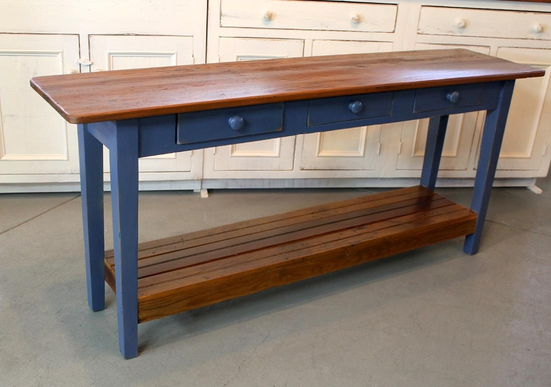 Barn Wood Console Table With Slatted Shelf – Ecustomfinishes In Barnwood Sofa Tables (View 13 of 20)