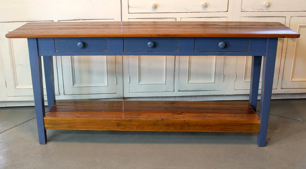 Barn Wood Console Table With Slatted Shelf – Ecustomfinishes Pertaining To Barnwood Sofa Tables (Image 3 of 20)