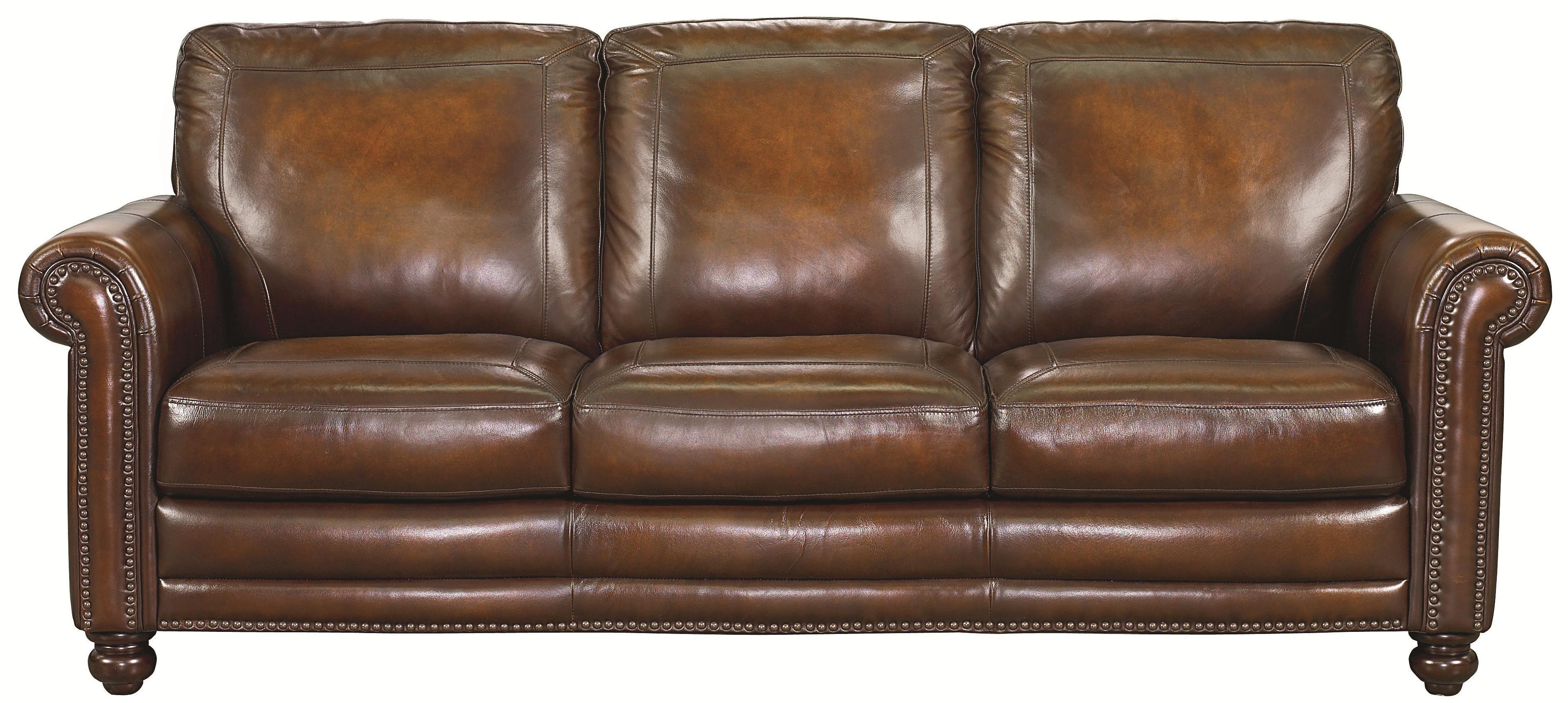Bassett Hamilton Traditional Sofa With Nail Head Trim – Great Regarding Brown Leather Sofas With Nailhead Trim (Image 2 of 20)