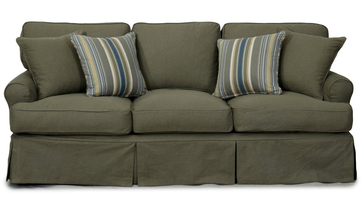 Beachcrest Home Coral Gables T Cushion Cotton Sofa Slipcover With Loveseat Slipcovers T Cushion (Image 2 of 20)