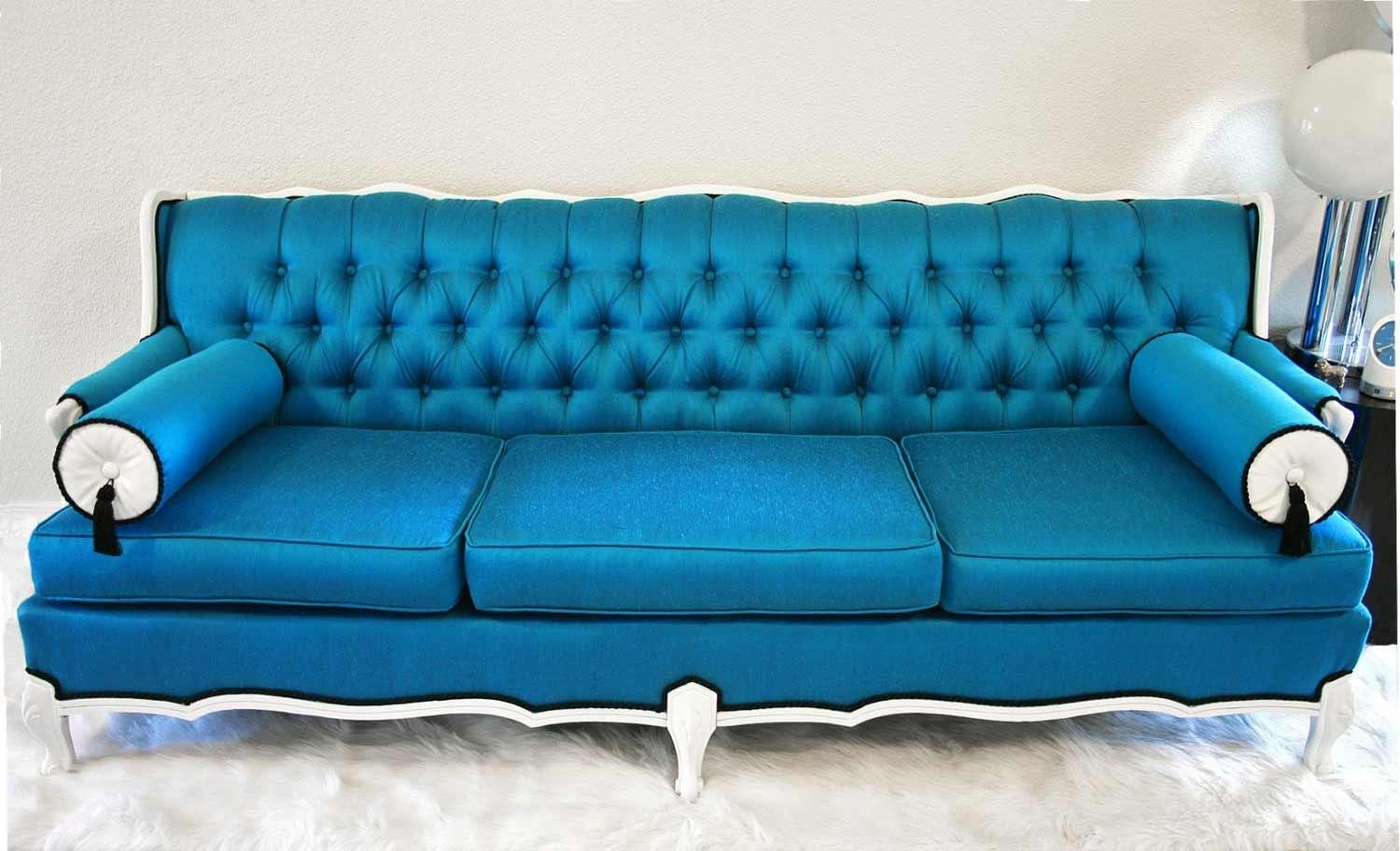 Beachside Blue Sofa. Sure Fit Pearson Stretch Sofa Slipcover (Image 3 of 20)