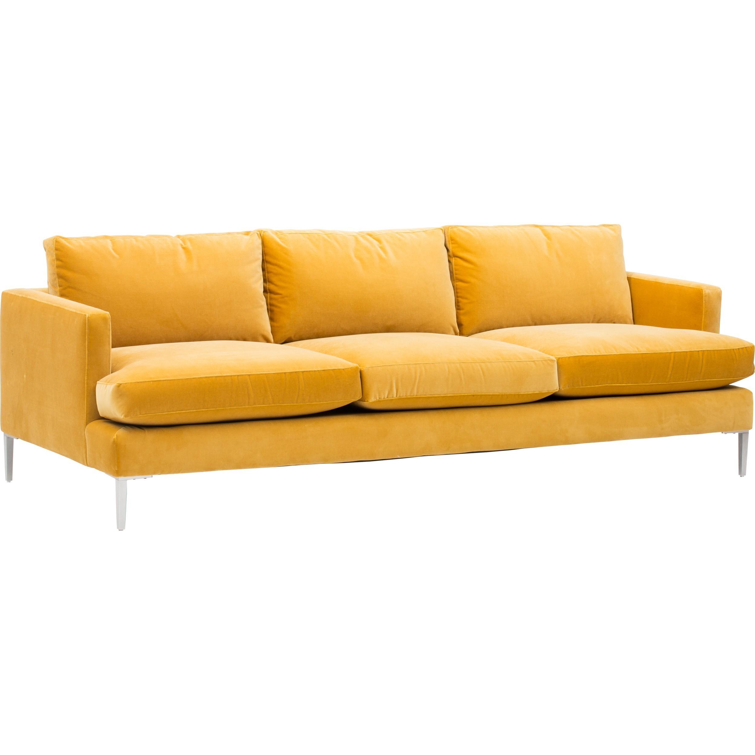 Beckham Sofa, Vance Gold – Fabric – Sofas – Furniture Inside Fabric Sofas (View 7 of 20)