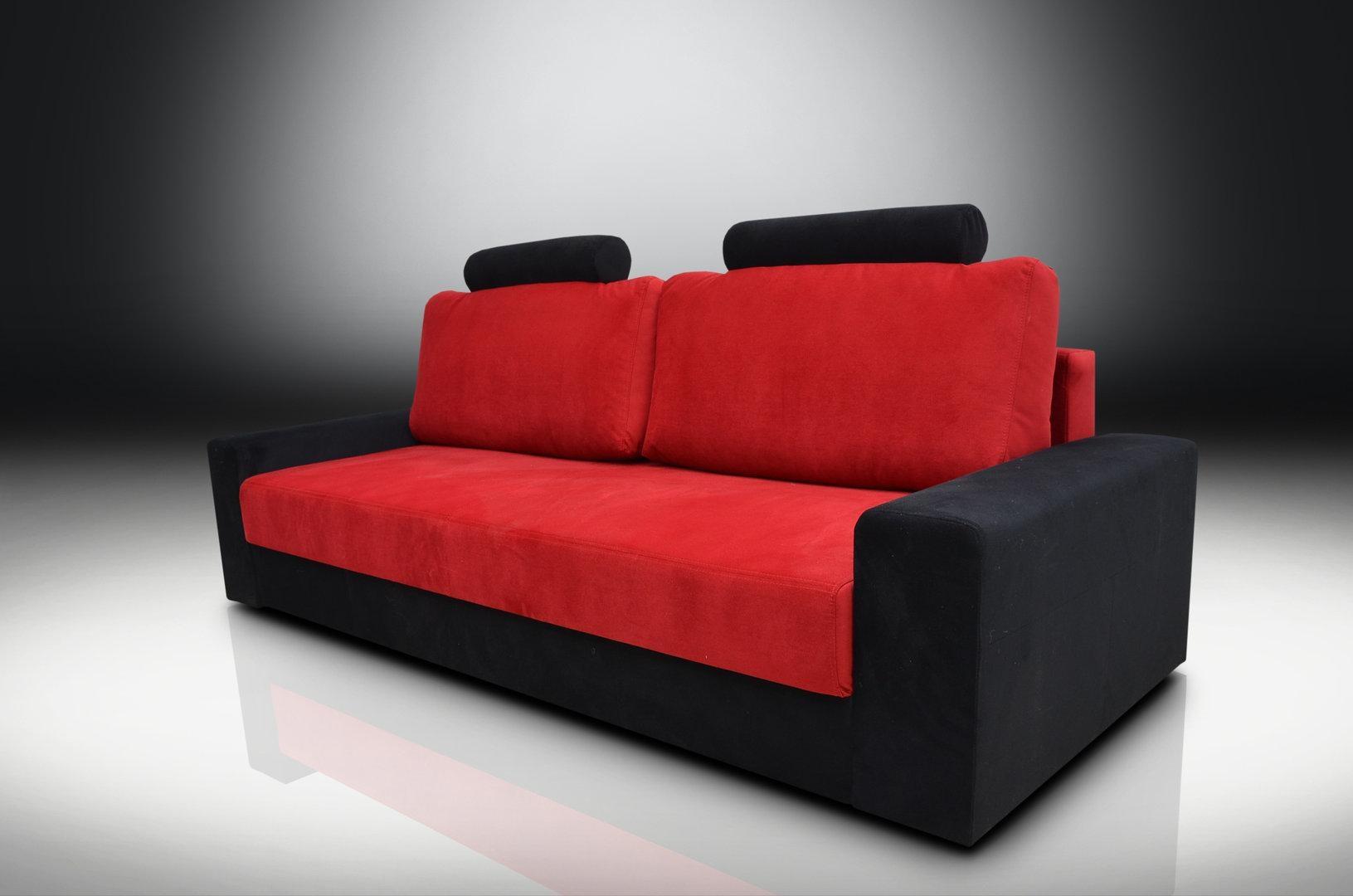Bed Chicago Velvet Fabric Red / Black inside Sofa Red and Black