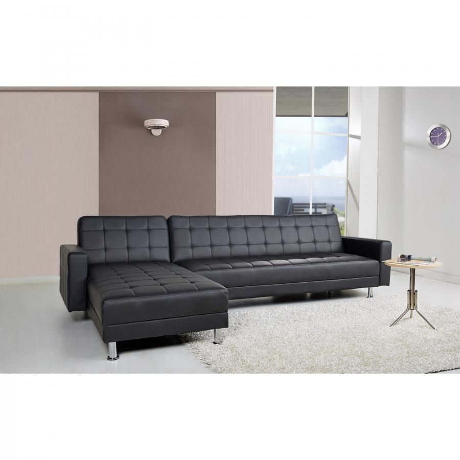 Bed Faux Leather Corner Sofa Bed Minimalist Within Black Corner Sofas (Image 2 of 20)