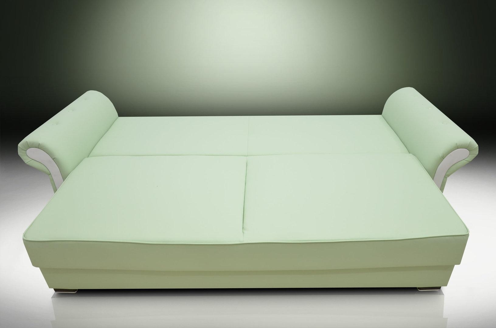 Bed Gemma Eco Leather Aqua/white For Aqua Sofa Beds (Image 4 of 20)